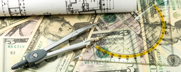 protractor and money and blue prints