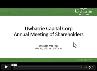 2020 Annual Meeting of Shareholders Virtual Video